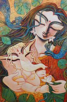 Ganesha, Little Ganesha, Parvatiputra, Mata Durga, Ganesh Janani, Ganesh, Siddhidata, Deva, Ganapati, Bhuwanpati,GIFT OF LOVE,ART_1469_11987,Artist : Subrata Ghosh,Acrylic