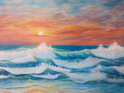 seascape, sea waves, emerald water, sunset on sea, oil painting,Sunset at sea beach (  19 x 15 inch ),ART_976_6703,Artist : Goutami Mishra,Oil