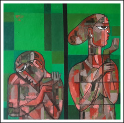 Green, Abstract, Figurative, Couple, Woman, Man, Face,Together alone.,ART_1508_12206,Artist : Anil Lakhera,Acrylic
