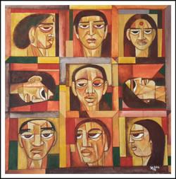 Heads, Portraits, ,Nine Heads,ART_1508_12189,Artist : Anil Lakhera,Acrylic