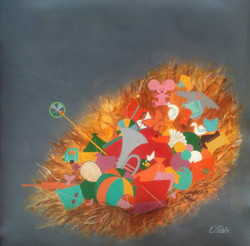childhood memories, multi colour painting, the nest of childhood, toys painting, new age painting,The nest of childhood,ART_805_11048,Artist : Shiv kumar Soni,Acrylic