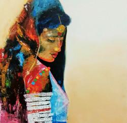 face portrait,Beautiful Face,ART_138_11828,Artist : Ila Mishra,Acrylic