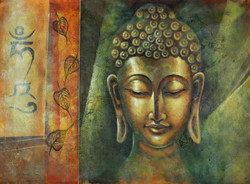 Buddha paintings,calm buddha painyings,Peaceful paintings,Silent buddha paintings,Calm and Silent Buddha,FR_1523_12358,Artist : Community Artists Group,Acrylic