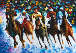Race paintings,horse riding painting,Storm horse riding,Race on the Snow,FR_1523_12319,Artist : Community Artists Group,Oil