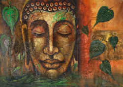 Buddha paintings,peaceful buddha,calm buddha,kind buddha,buddha with leaves paintings,Calm and Kind Buddha,FR_1523_12403,Artist : Community Artists Group,Acrylic