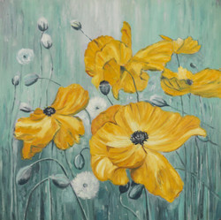 Floral paintings,yellow flower paintings,flower paintings,beautiful paintings,Beautiful Floral,FR_1523_12401,Artist : Community Artists Group,Acrylic