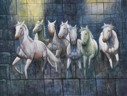 7 horses paintings,horse paintings,horse running paintings,horse arising paintings,horse chasing paintiings,7 Horses Running,FR_1523_12396,Artist : Community Artists Group,Acrylic