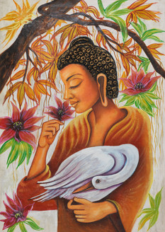 Bird painting,buddha painting,buddha with swan paintings,calm buddha paintings,peaceful buddha paintings,kind buddha with swan paintings,buddha with hamsa paintings,Buddha with Swan,FR_1523_12394,Artist : Community Artists Group,Acrylic