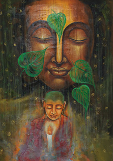 Buddha paintings,peaceful buddha,calm buddha,kind buddha,buddha with leaves paintings,Calm Buddha with Green Leaves ,FR_1523_12390,Artist : Community Artists Group,Acrylic