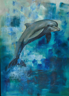 Dolphin painting,Fish painting,Sea dolphin painting,Diving paintings,Kind Dolphin,FR_1523_12381,Artist : Community Artists Group,Acrylic