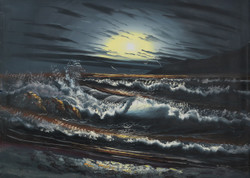 Sea paintings,bharti-ohoti paintings,storm thundering paintings,Sea Storm Thundering,FR_1523_12373,Artist : Community Artists Group,Acrylic