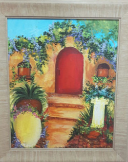 Ancient Persian Doorway,pots,plants, greens, garden,Persian Doorway,ART_1537_12308,Artist : Shabana  Rangila,Acrylic