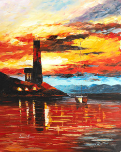 Lighthouse paintings,lighthouse sunset paintings,Peaceful paintings,By the Light House Beam,FR_1523_13327,Artist : Community Artists Group,Oil