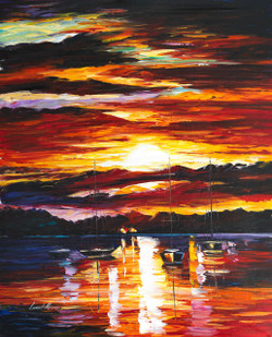 Beautiful sunset paintings,sunset paintings,Sun paintings,Close of the Day,FR_1523_13326,Artist : Community Artists Group,Oil