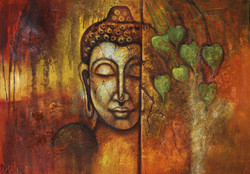 Buddha paintings,peaceful buddha,calm buddha,kind buddha,buddha with leaves paintings,Magnificent Buddha in Ancient Look,FR_1523_12382,Artist : Community Artists Group,Acrylic