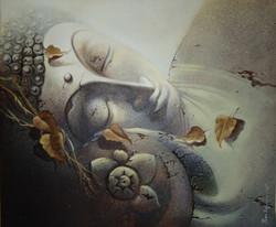 Buddha 10 (ART_836_7075) - Handpainted Art Painting - 30in X 36in