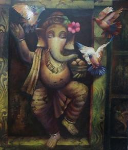 Ganapati 5 (ART_836_7074) - Handpainted Art Painting - 36in X 48in