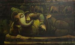 Ganpati 16 (ART_836_7073) - Handpainted Art Painting - 48in X 30in