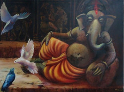 Ganapati 15 (ART_836_7072) - Handpainted Art Painting - 41in X 47in