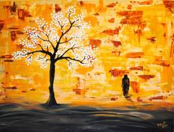Tree, Knife Painting, Orange,Under The Tree,ART_1316_13698,Artist : Priyanka Dutt,Acrylic
