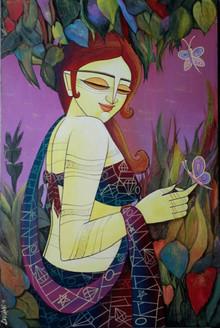 Celestial Beauty (ART_836_13980) - Handpainted Art Painting - 20in X 30in