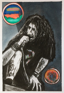Keywords: growl, randy, vocalist, mosh, lamb of God, Frontman, dreadlocks, energy, gig, Metal, Rock, Headbanger, mic, music,Get ready to Mosh,ART_1684_13928,Artist : Sandeep Pranoy,Mixed Media