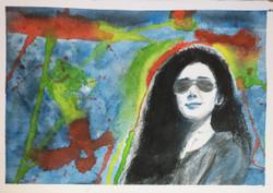 Summer, Girl, Love, Sun, Shades, Peace, Red, Yellow, Green, Style, Fashion,Summer Girl,ART_1684_13902,Artist : Sandeep Pranoy,Water Colors