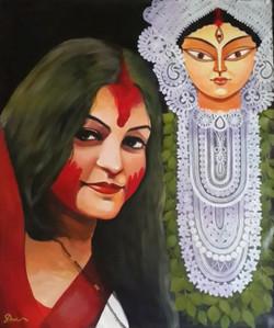 Vijaya Dashimi (ART_836_13987) - Handpainted Art Painting - 30in X 36in