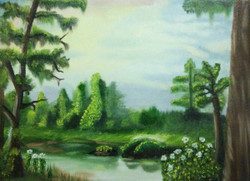 Forest, Lake, Nature, Landscape, Trees,Lake in Forest,ART_1718_14134,Artist : Prabhmeet Kaur  Dang,Oil