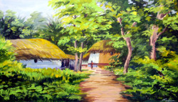 Beauty of Bengal Village landscape (ART_1232_14185) - Handpainted Art Painting - 27in X 15in