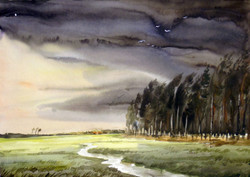 Rural Forest at Monsoon (ART_1232_14233) - Handpainted Art Painting - 24in X 18in
