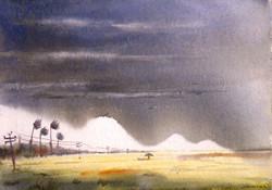 Monsoon Cornfield (ART_1232_14221) - Handpainted Art Painting - 15in X 11in
