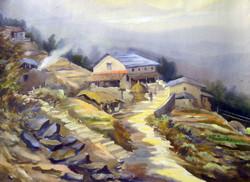 Mountain Landscape (ART_1232_14218) - Handpainted Art Painting - 30in X 22in