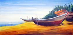 Fishing Boats at Seashore (ART_1232_14199) - Handpainted Art Painting - 24in X 12in
