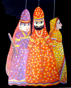 Beauty of Indian Puppet (ART_1232_14195) - Handpainted Art Painting - 22in X 28in