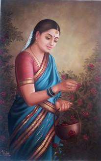 rajasthani, lady,Rajasthani Lady in Garden,ART_1090_14417,Artist : Mohan Verma,Oil