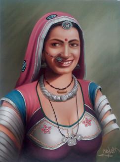 rajasthani, lady,Rajasthani Lady,ART_1090_14415,Artist : Mohan Verma,Oil