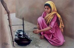 rajasthani lady, lady, rajasthan,Rajasthani Lady,ART_1090_14412,Artist : Mohan Verma,Oil