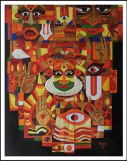 Kathakal,Symphony of kathakali,ART_1508_14331,Artist : Anil Lakhera,Acrylic