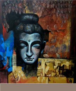 ,Buddha  III,ART_836_5420,Artist : Debkumar Bhattacharyya (Seller),Acrylic