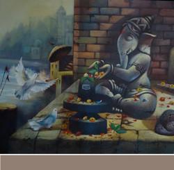 ,Ganesh  9,ART_836_5415,Artist : Debkumar Bhattacharyya (Seller),Acrylic