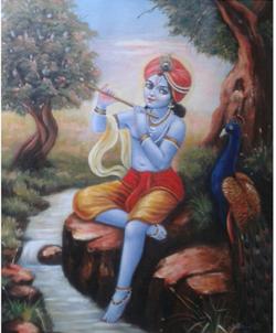 ,Lord Krishna,ART_836_14307,Artist : Debkumar Bhattacharyya (Seller),Acrylic