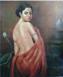 ,The Lady,ART_836_14302,Artist : Debkumar Bhattacharyya (Seller),Acrylic