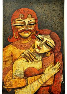 ,King & queen 2,ART_836_4109,Artist : Debkumar Bhattacharyya (Seller),Acrylic