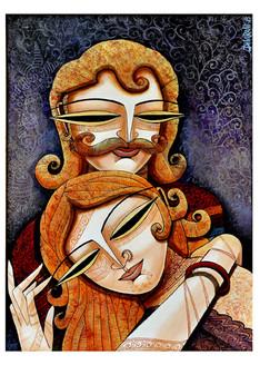 ,King&Queen 1,ART_836_4108,Artist : Debkumar Bhattacharyya (Seller),Acrylic