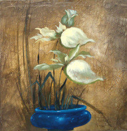 Flower Plant 01 - 24in X 24in (Stretcher Framed),ART_SYM123_2424,Oil Colors,Flowers,Vase,Tree,Community Artists Group,Museum Quality - 100% Handpainted