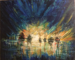 Abstract landscape painting ,Abstract landscape knife painting,ART_1842_14900,Artist : Neelam Sharma,Acrylic