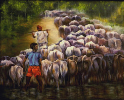 At the River Bank - 30in X 24in (Border Framed),ART_KISL4_3024,Acrylic Colors,Artist Kakali Sanyal,Cow,Farmers,Cow at River,Museum Quality - 100% Hand painted - Buy Online Painting in India