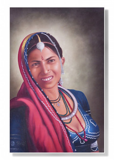rajasthani paintings,Rajasthani Lady - 24in X 36in,ART_MNVA01_2436,Oil  Colors,Artist Mohan Verma,Museum Quality - 100% Handpainted,Happy Women,Rajasthani Women,Lady - Buy Paintings Online in india