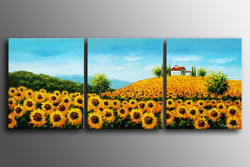 Attraction - 60in x 24in (20in X 24in each X 3pcs),RTCSD_09_6024,Multipiece,Museum Quality,Abstract,Fresh,Morning,Floral,Flowers,Sunflower - 100% Handpainted Buy Painting Online in India.